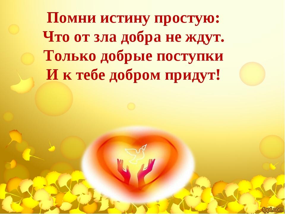 Помни истину простую: Что от зла добра не ждут. Только добрые поступки И к те...