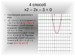4 способ х2 – 2х – 3 = 0 Преобразуем уравнение к виду х2 – 2х +1 – 4 = 0 и да