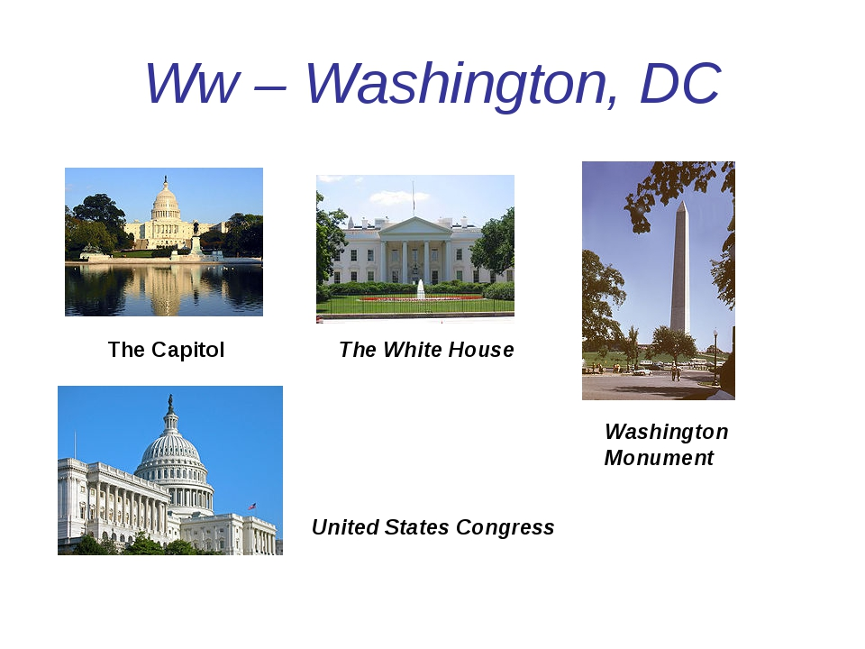 Ww – Washington, DC The Capitol The White House Washington Monument United St...