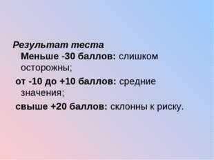 Результат теста Меньше -30 баллов: слишком осторожны; от -10 до +10 баллов: с