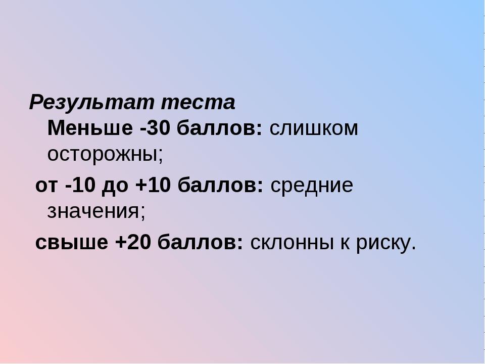 Результат теста Меньше -30 баллов: слишком осторожны; от -10 до +10 баллов: с...