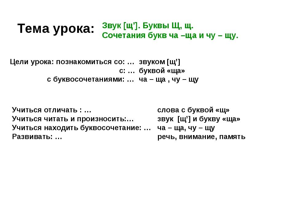 Тема урока: Звук [щ']. Буквы Щ, щ. Сочетания букв ча –ща и чу – щу. Цели урок...