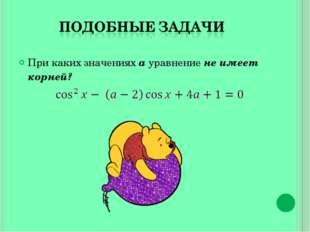При каких значениях a уравнение не имеет корней?