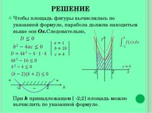 Чтобы площадь фигуры вычислялась по указанной формуле, парабола должна находи