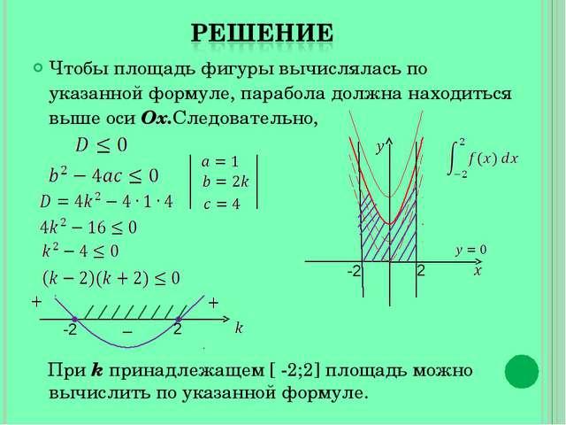 Чтобы площадь фигуры вычислялась по указанной формуле, парабола должна находи...