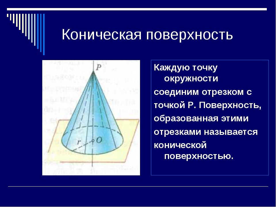 Коническая поверхность Каждую точку окружности соединим отрезком с точкой Р....