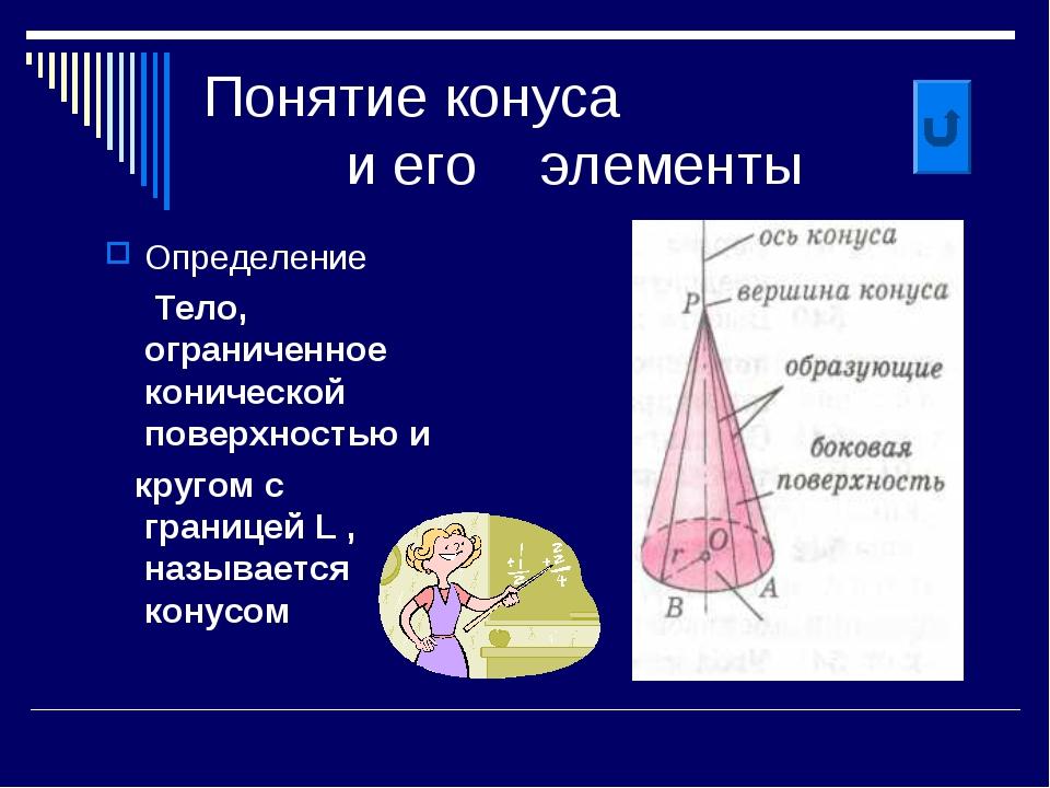 Понятие конуса и его элементы Определение Тело, ограниченное конической повер...