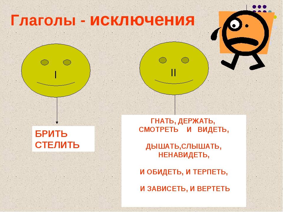 Глаголы - исключения БРИТЬ СТЕЛИТЬ ГНАТЬ, ДЕРЖАТЬ, СМОТРЕТЬ И ВИДЕТЬ, ДЫШАТЬ,...
