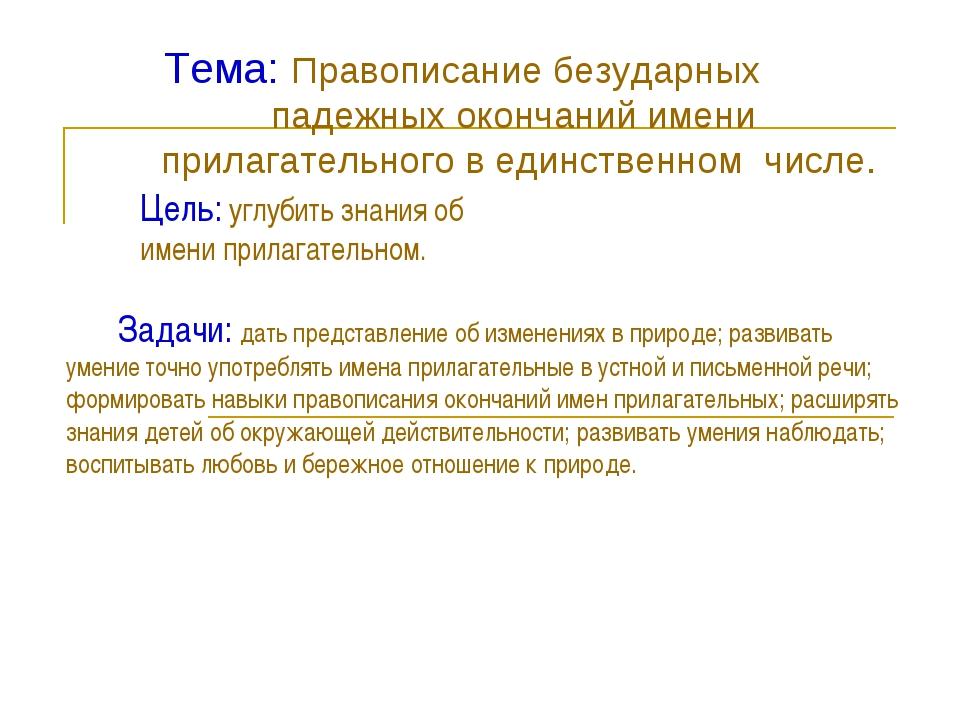 Тема: Правописание безударных падежных окончаний имени прилагательного в един...