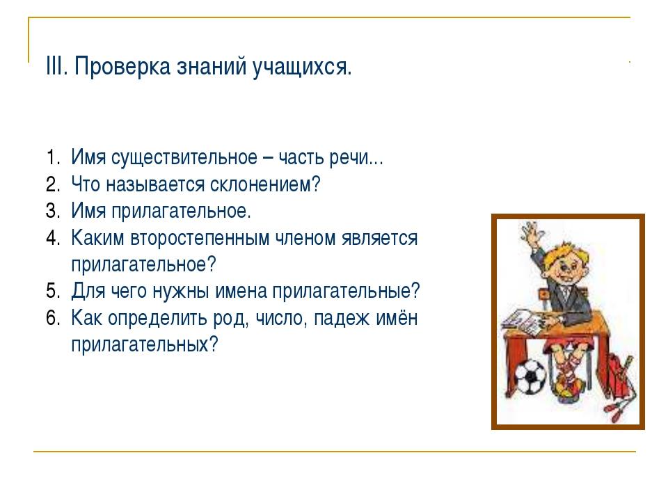 ІІІ. Проверка знаний учащихся. Имя существительное – часть речи... Что называ...