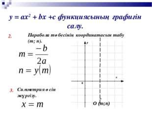 у = ах2 + bх +с функциясының графигін салу. 2. Парабола төбесінің координатас
