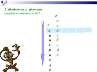 1. 2. р г и е п а л о б р Квадраттық функция графигі қалай аталады? п а б а л