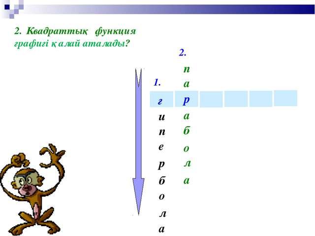 1. 2. р г и е п а л о б р Квадраттық функция графигі қалай аталады? п а б а л...