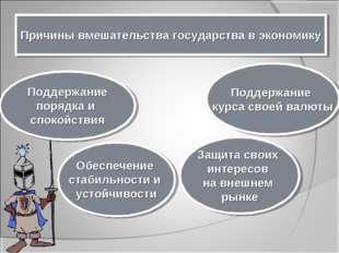 Причины вмешательства государства в экономику Поддержание порядка и спокойств