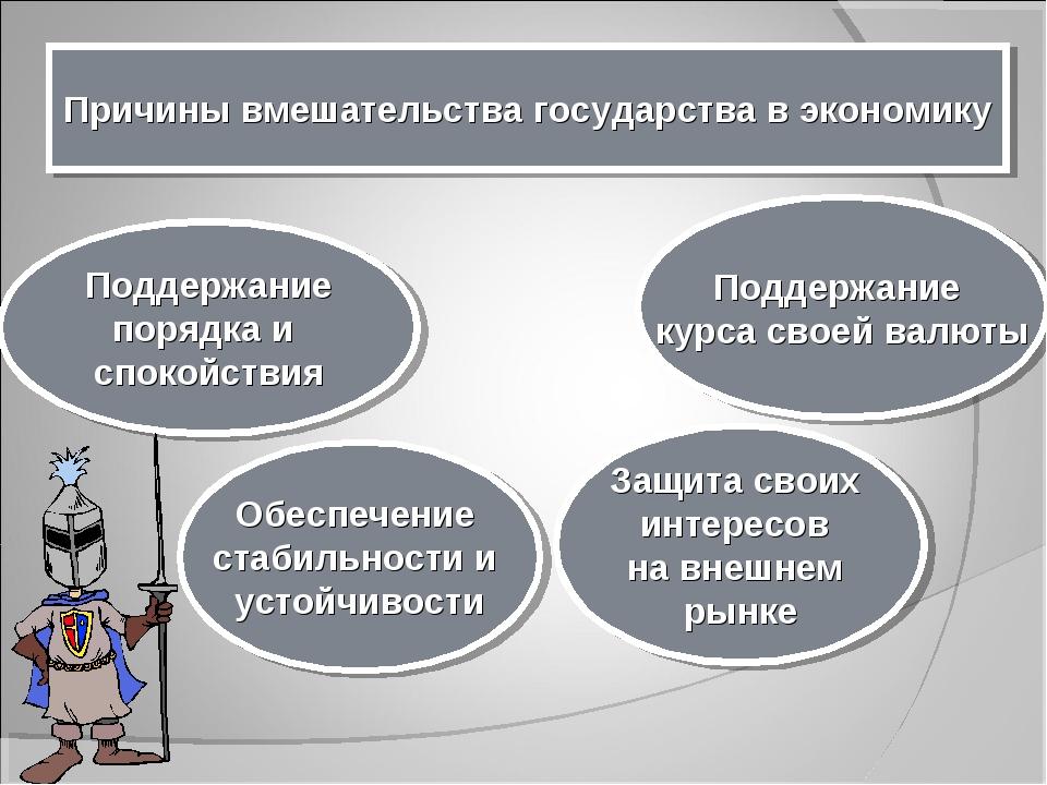 Причины вмешательства государства в экономику Поддержание порядка и спокойств...