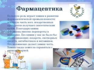 Фармацевтика Большую роль играет химия в развитии фармацевтической промышленн