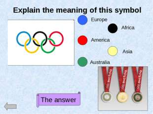 Explain the meaning of this symbol Europe America Australia Africa Asia The a