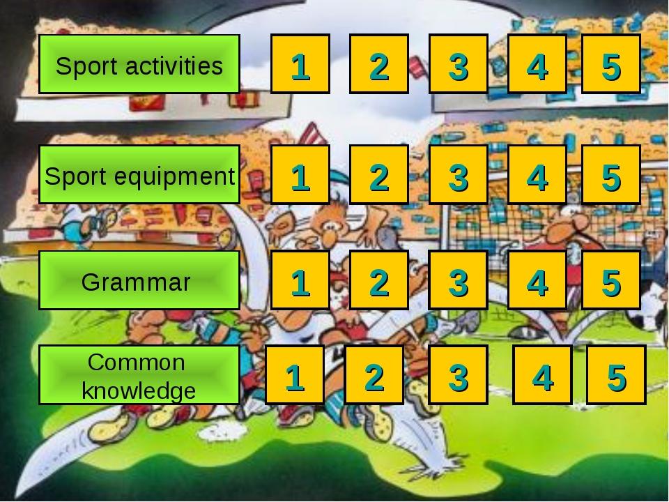 4 3 5 4 3 2 1 5 4 3 2 1 5 Sport equipment Sport activities Common knowledge G...