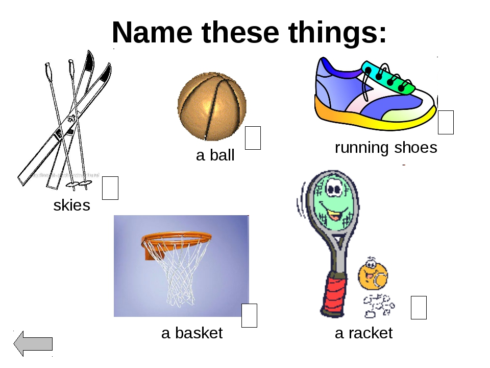Name these things: a ball a racket running shoes skies a basket