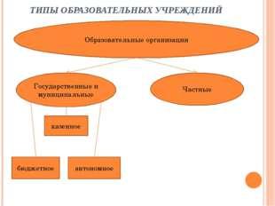 ТИПЫ ОБРАЗОВАТЕЛЬНЫХ УЧРЕЖДЕНИЙ Образовательные организации Государственные и