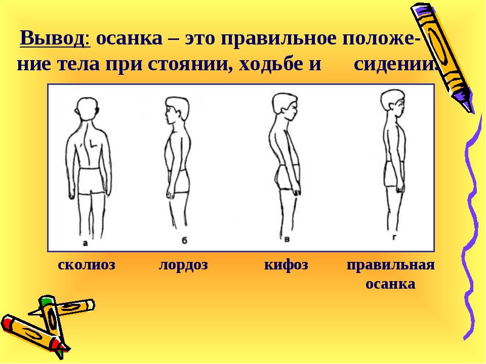 Вывод: осанка – это правильное положе-ние тела при стоянии, ходьбе и сидении...