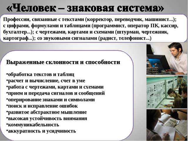Профессии, связанные с текстами (корректор, переводчик, машинист...); с цифра...