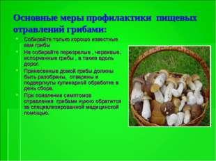 Основные меры профилактики пищевых отравлений грибами: Собирайте только хорош