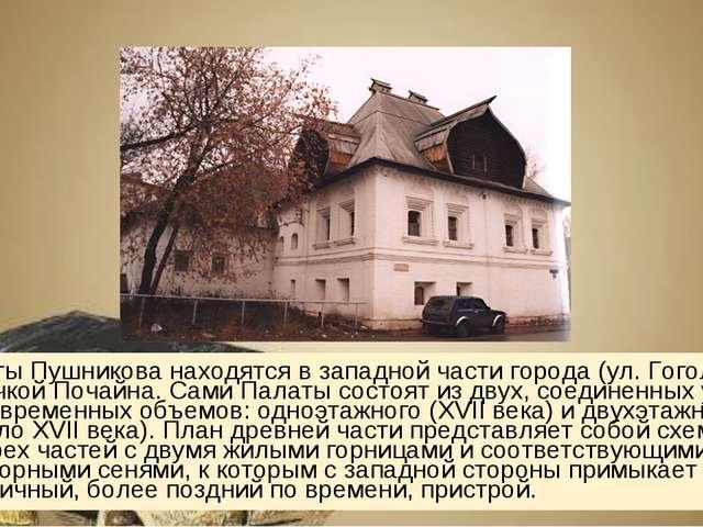 Палаты Пушникова находятся в западной части города (ул. Гоголя, 52), за речко...