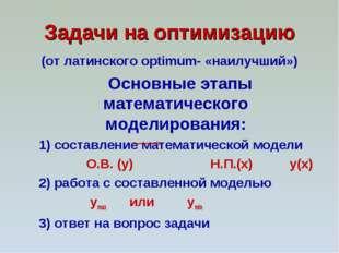 Задачи на оптимизацию (от латинского optimum- «наилучший») Основные этапы мат
