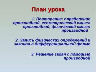 План урока 1. Повторение: определение производной, геометрический смысл произ