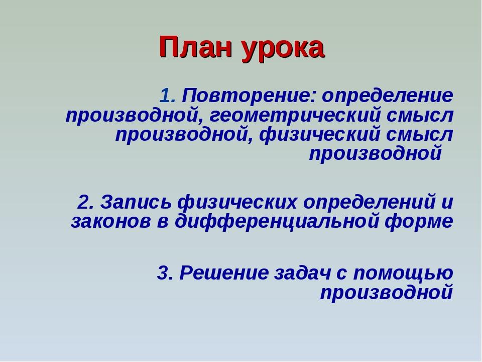 План урока 1. Повторение: определение производной, геометрический смысл произ...