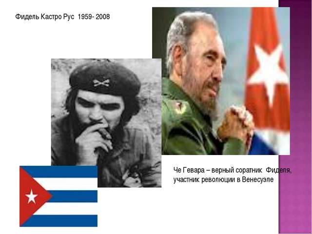 Фидель Кастро Рус 1959- 2008 Че Гевара – верный соратник Фиделя, участник рев...
