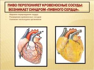 Жировое перерождение сердца Расширение кровеносных сосудов Усиление теплоотда
