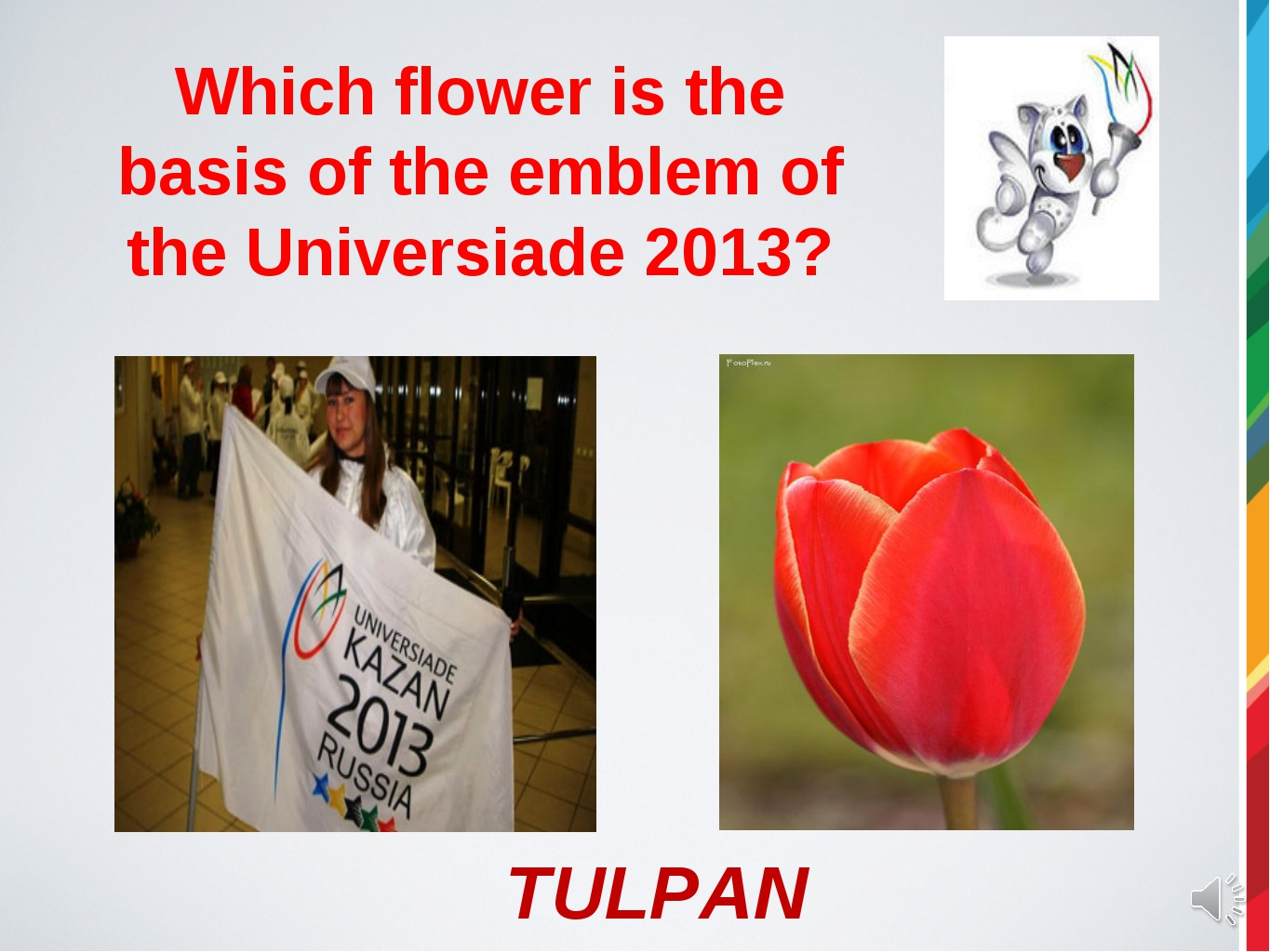 Which flower is the basis of the emblem of the Universiade 2013? TULPAN