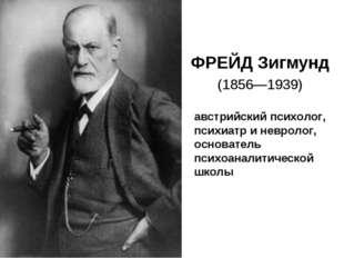 ФРЕЙД Зигмунд (1856—1939) австрийский психолог, психиатр и невролог, основате