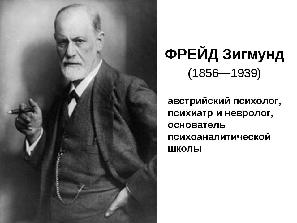 ФРЕЙД Зигмунд (1856—1939) австрийский психолог, психиатр и невролог, основате...