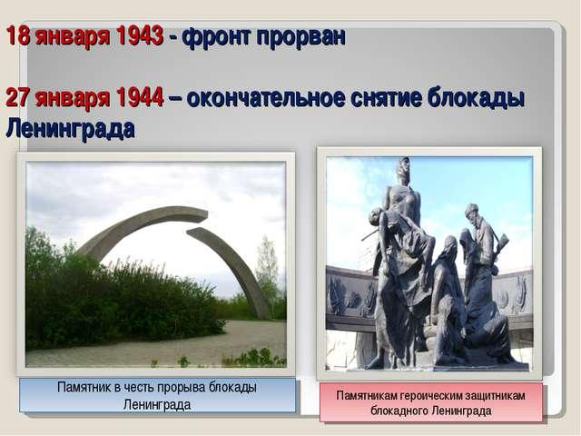 18 января 1943 - фронт прорван 27 января 1944 – окончательное снятие блокады...