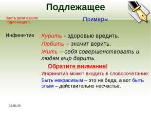 * Подлежащее Часть речи в роли подлежащего Примеры Инфини-тивКурить - здоро
