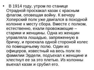 В 1914 году, утром по станице Отрадной проскакал казак с красным флагом, оп