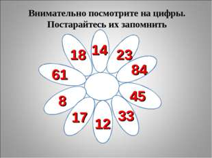 Внимательно посмотрите на цифры. Постарайтесь их запомнить 18 14 23 84 45 33