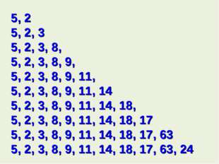 5, 2 5, 2, 3 5, 2, 3, 8, 5, 2, 3, 8, 9, 5, 2, 3, 8, 9, 11, 5, 2, 3, 8, 9, 11,
