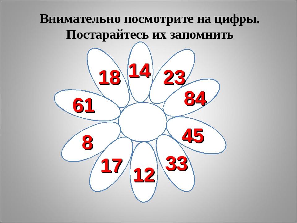 Внимательно посмотрите на цифры. Постарайтесь их запомнить 18 14 23 84 45 33...