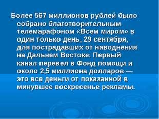 Более 567 миллионов рублей было собрано благотворительным телемарафоном «Всем
