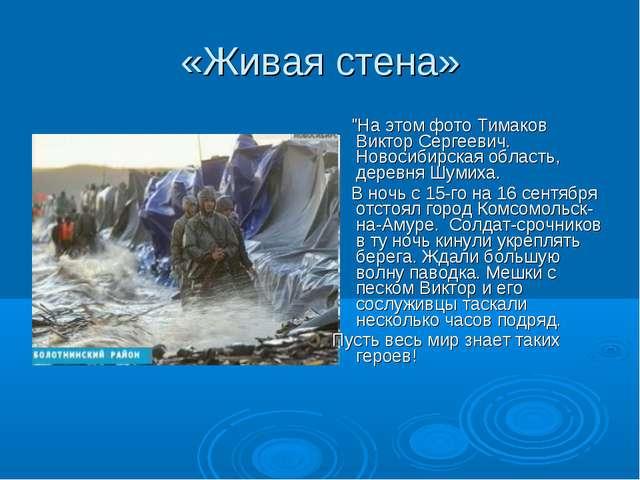 """«Живая стена» """"На этом фото Тимаков Виктор Сергеевич. Новосибирская область,..."""