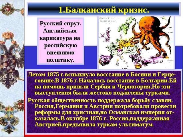 Летом 1875 г.вспыхнуло восстание в Боснии и Герце-говине.В 1876 г.Началось во...