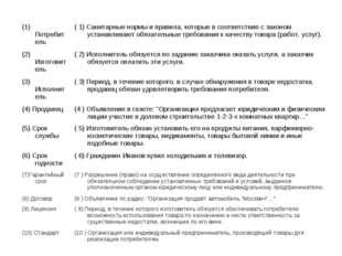 (1) Потребитель ( 1) Санитарные нормы и правила, которые в соответствие с за