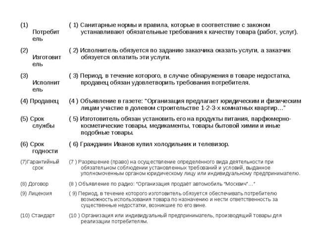 (1) Потребитель ( 1) Санитарные нормы и правила, которые в соответствие с за...