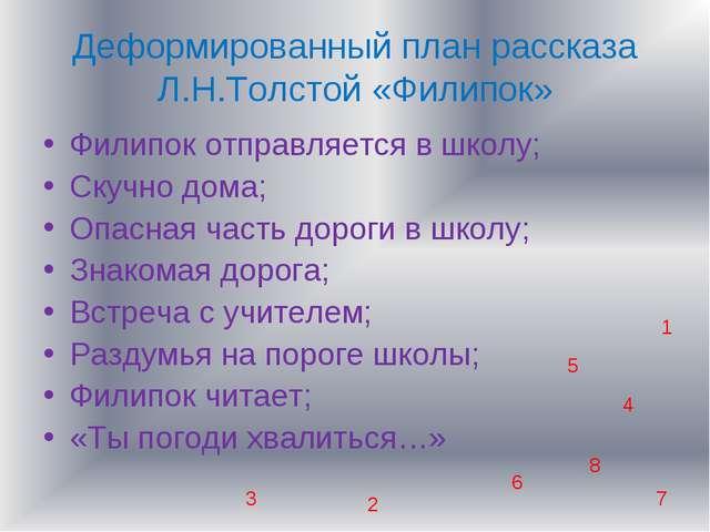 Деформированный план рассказа Л.Н.Толстой «Филипок» Филипок отправляется в шк...