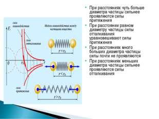 При расстояниях чуть больше диаметра частицы сильнее проявляются силы притяже