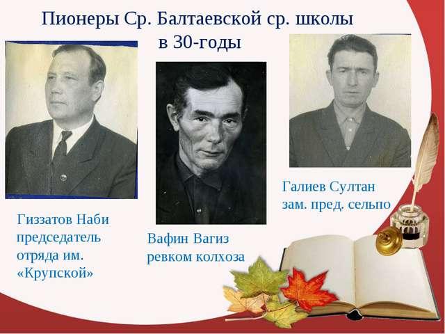 Пионеры Ср. Балтаевской ср. школы в 30-годы Гиззатов Наби председатель отряда...